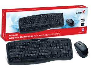 KIT TECLADO E MOUSE WIRELESS GENIUS KB-8000X USB 2.4 GHZ PRETO 1200DPI