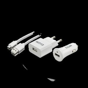 Kit Carregador USB/Tomada/Veicular Elgin